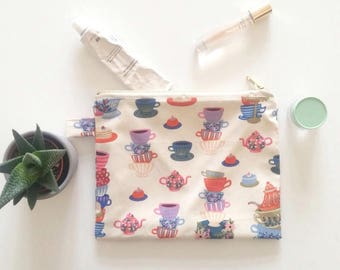 Tea Party Zipper Pouches - Rifle Wonderland Prints make up bags