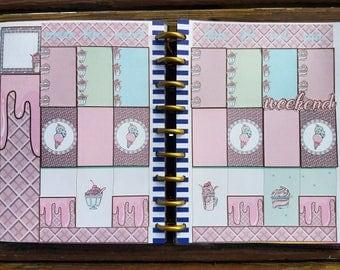 ice cream sundae weekly planner sticker spread, happy planner classic, scrapbooking
