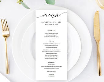 Calligraphy Wedding Menu Template Download, Printable & Editable Minimal Wedding Menu, A4, US Letter Wedding Menu PDF Instant Download.