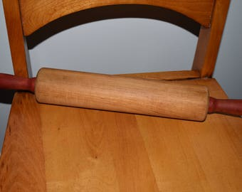 Rolling pin vintage red handled