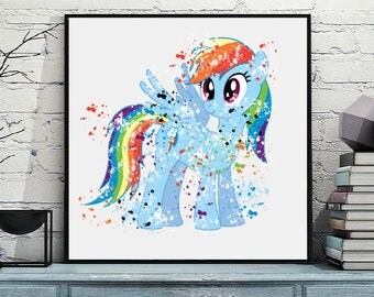 Dash, Pony, My Little Pony, My Little Pony Birthday, Dash, My Little Pony Watercolor Art Print, Child room decor, Nursery, Wall art, gift
