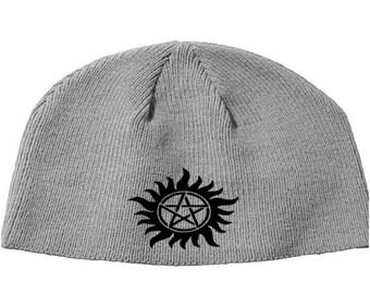 Supernatural Pentagram Winchester Sam Dean Castiel Beanie Knitted Hat Cap Winter Clothes Horror Merch Massacre Christmas Black Friday