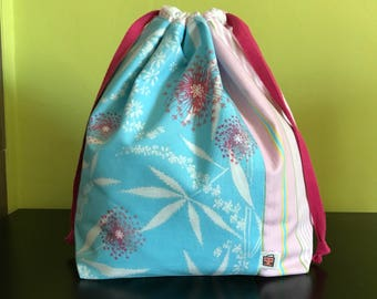 "Handmade drawstring bag / pouch for knitting crochet project 10.5"" x 8"" x 3.5"" *Isabelle 1*"
