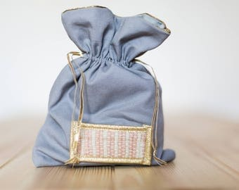 fabric and pink and gold - weaving weaving Ilwen DrawString pouch