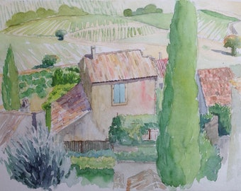 Rasteau: roofs Provence Vaucluse aquarel wasserfarbe landscape watercolor painting watercolor landscape vineyards vineyard view painting