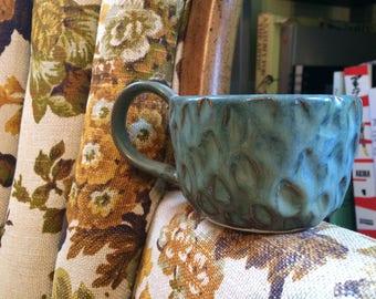 Mermaid's Tail Textured Clay Mug. Wheel thrown, Handmade Pottery.