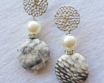 Handmade earrings, gemstone earrings, pearl earrings, drop earrings, leather earrings