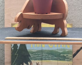 Vintage wood pig shelf display country farm
