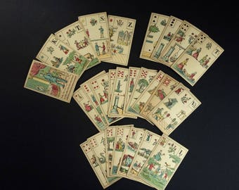 19th Century RARE Mlle Lenormand's Diviners Fortune Telling Cards PARTIAL 26/54