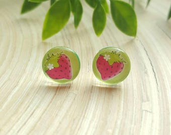 Gorgeous Strawberry Fruit Cabochon Glass Stud Earrings