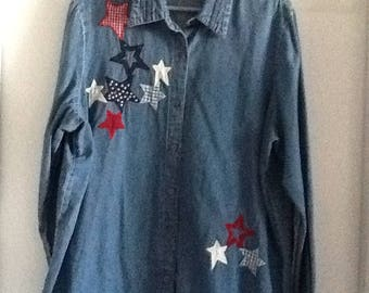 Woman denim shirt with  stars  embroidered color a of the USA flag