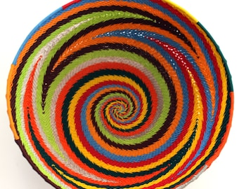 isiZulu telephone wire bowl (Imbenge bowl), multi-coloured, large