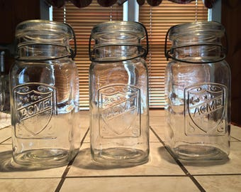 3 Pristine Acme Quart Mason Jars with Lids
