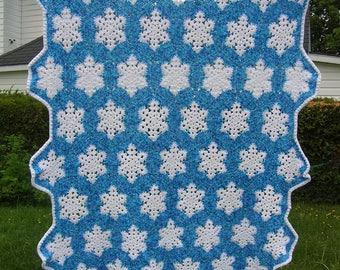 Crocheted snowflake blanket