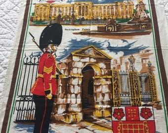 London Vintage Tea Towel/London Souvenir/Kitchenalia/Buckingham Palace
