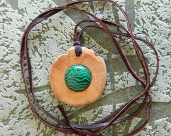 Strong Cedar talisman, reinforced with malachite! High curative and protective properties! Wild Siberian cedar! Natural materials! Handmade!
