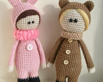 Crochet amigurumi doll wearing bear or bunny costume