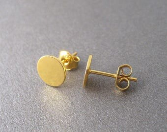 Round coins earrings studs silver studs 925 gold filled