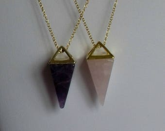 Pyramid Necklace,Gold Pyramid Necklace Pendant,Purple Pyramid Necklace,Amethyst Pyramid Necklace,Egyptian Pyramid Jewelry Jewellery