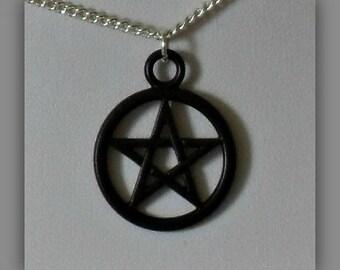 Black Pentagram Necklace,Pentagram Jewelry,Black Pentagram Pendant,Black Pentagram Jewelry,Wiccan Gift,Wiccan Jewelry,Pentagram Jewelry