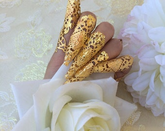 Nails armor ring gold metal oriental asian luxe jewelry claws