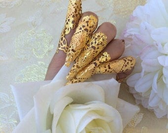 Nails armor ring gold metal oriental asian luxe jewelry