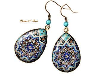 Blue glass cabochon bronze East mosaic drop earrings