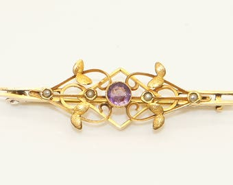 Antique Edwardian 9Ct Gold Openwork Amethyst And Split Pearl Pin Brooch