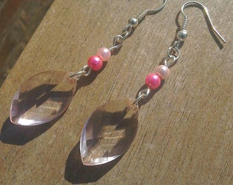 Pink faceted beads and glass pearl earrings