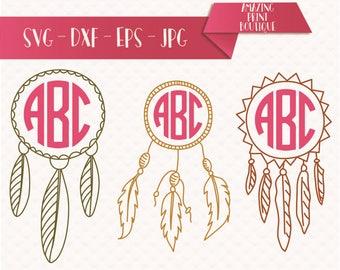 DREAM CATCHER SVG cut files, Dreamcatcher Monogram Frame, Eps, Png, Dxf, Svg for Cricut, Boho Design Svg Mandala with feathers, Monogram svg