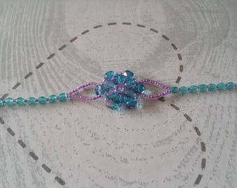 Bracelet chic blue and purple faceted beads