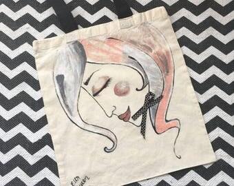 Cute hand painted tote bag