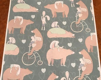 Whimsical bear & bunny print/Cute forest creatures/Nursery Décor