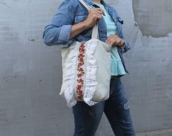 Linen bag Hand embroidery bag Linen hobo bag Summer flower handbag Canvas women bag Canvas tote bag Linen tote bag Linen and lace