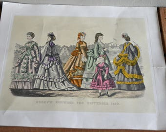 2 vintage prints from Italy of Godey's Fashions