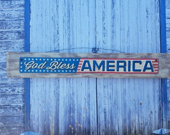 AMERICA, Independence Day, USA, Rustic Wood Red White Blue Sign, Metal Plaque Embellishment, Shabby Chic, Distressed