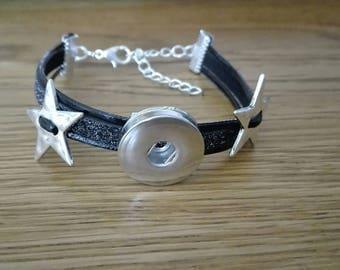 faux leather snap bracelet