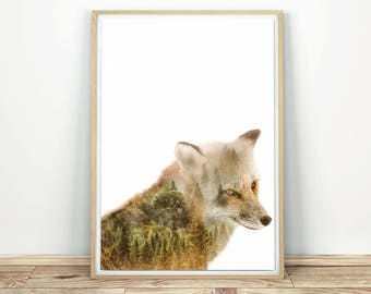 Fox Wall Art - Modern Nature Print, Fox Decor, Forest Animal Print, Fox Woodland Art, Printable Wall Art, Fox Nursery Decor, Wildlife Art