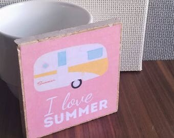 I Love Summer tile coaster, Summer Road Trips, RV Vacations, Beach Time Coaster