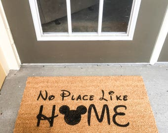 No Place Like Home Disney Doormat | Mickey Mouse Head Ears | Coir Doormat | Welcome Mat | Housewarming Gift | 30in X 18in