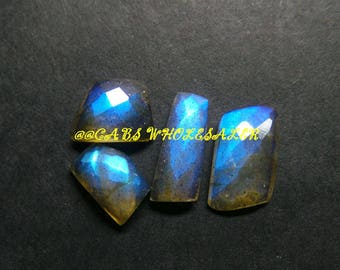 4 Pcs - Natural Labradorite One Side Checker Cut Fancy Cabochon - 10-14 MM - Labradorite Cabochons - High Quality - Wholesalegems