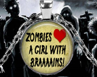 Zombies Love Girl Brains Pendant
