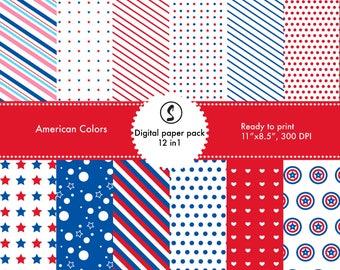 American color digital paper pack 12 in 1