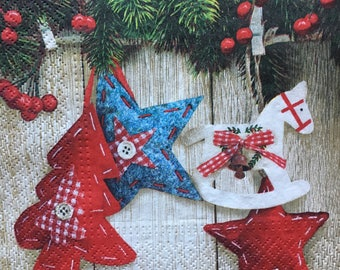 Decoupage Napkins x4, Paper Napkins for Decoupage Craft Collage Christmas Tree Ornaments Winter 790