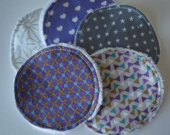 washable wipes - set of 5 - purple and silver