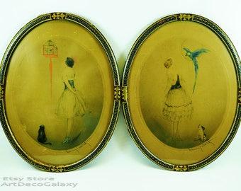 Louis Icart (FR-1888-1950)-Original 1928 Art Deco Etchings-Signed