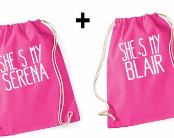 My serena and my blair Couple Gymbag Rosa  - gossip girl,backpack,rucksack,tee,top,couple,pärchen,best friends,gift,turbeutel,group,