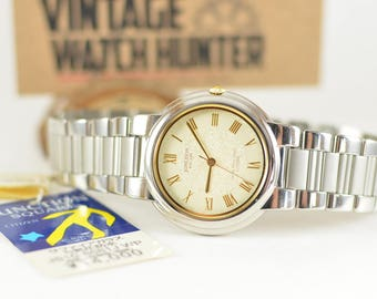Two Tone Classic Dress Watch for Work//Mens Vintage Citizen Junction with Roman Numerals//Sleek Gift for Him
