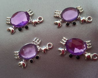 Crab purple rhinestone pendants