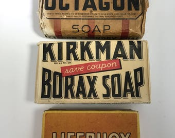 Octagon Display Soap/Kirkman Borax Soap/Old Fashioned Soap/Vintage Laundry Soap/Lifebuoy Soap/Old Time Display/Collectible Soap